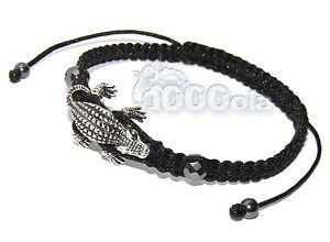 BRACELET Homme STYLE Tibétain Mala Perles: crocodile + HEMATITE + fil nylon NOIR