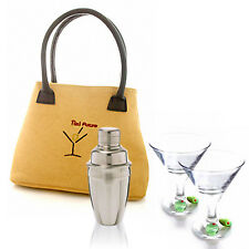 New in gift box olive decorated Tini cocktail kit set for hip martini girl