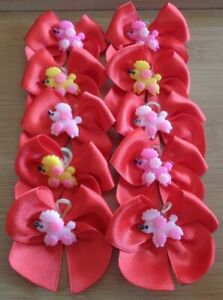 10 Hand Tied Red Grooming Bows POODLE Centre