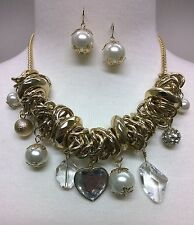 Gold Pearl Heart and Crystal Charm Necklace Set