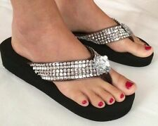 Brown Wedge Womens Crystal Rhinestone Studded Bling Flip Flops Sandals Shoes 8