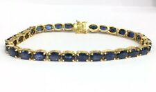 "14k Solid Yellow Gold Cute Tennis Bracelet, Natural Sapphire 7"". 10.65 Grams"