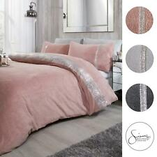 Sienna Teddy Fleece Diamante Duvet Cover with Pillowcase Thermal Bedding Set NEW