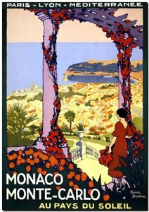 "Vintage Illustrated Travel Poster CANVAS PRINT ~ Monaco Monte Carlo 36""x24"""