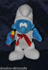 Peluche Doudou Schtroumpf  Smurf TRUDI SPA  Bleu Blanc Crayon Noeud 22 Cm TTBE