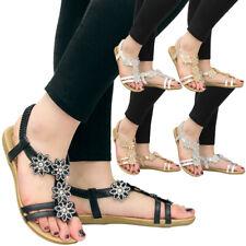 Womens Flat Diamante Shoes Comfy Strap Peep Toe Bling Ladies Summer Sandals Size