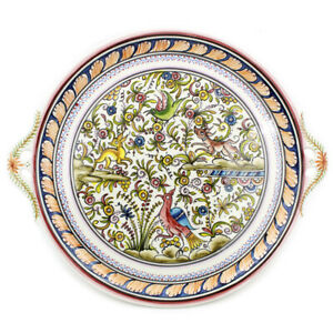 Coimbra XVII Cent Pottery Hand-painted Ceramic Hanging Plate with Handles #222