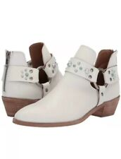 Frye Ray Stone Harness Cowboy Ankle Boots Leather Zip White 6 M $328 New