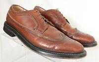 Sears 74607-672 Vtg Long Wing Tip Pebbled Brown Dress Oxfords Men's US 11D