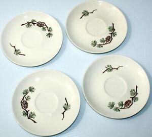 "Vintage Lot of 4 Misty Pine Cone Stetson Marcrest Saucer Dessert Plates 5 7/8"""