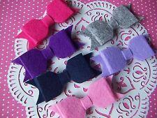 Wool Felt Hair Bows/ Ribbons For Hairband Hair Bows Gifts Presents DIY 6pcs NEW