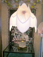 Sale!Antique Cut Czech Glass and Brass Lamp w/ Silk Victorian Shade