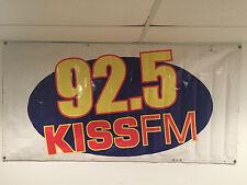Vintage 92.5 Kiss FM Radio Vinyl Banner Toledo Ohio Memorabilia Broadcast Media