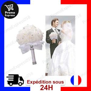 Bouquet de Mariée Artificiel Blanc Mariage Fleurs Design Beau Epurée
