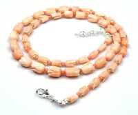 "Natural Coral Tulip Carved Necklace Sterling Silver 18"" New Bead Birthday Gift U"