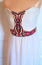 New Jane Norman London Womens Maxi Dress White Strapless Beaded Waist Size 14