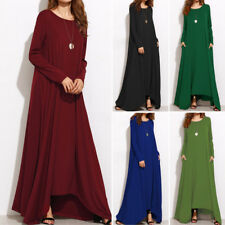 ZANZEA AU 8-24 Women Oversized A-Line Long Sleeve Maxi Dresses Kaftan Plus Size