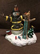 Lenox Snowman Statue dressed as a Fireman Nice cond Great Detailing