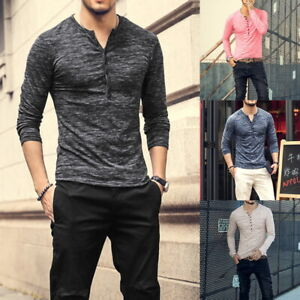 Mens Long Sleeve Henley T-Shirt Casual V Neck Slim Fit Muscle Tops Blouse Tee