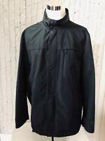 Nautica Men's Windbreaker Rain Jacket Sz XXL 2XL  Zip Up  Tuck Away Hood - Black