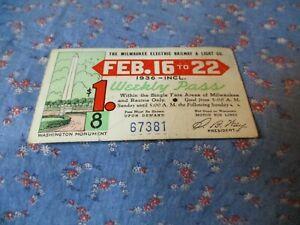 The Milwaukee Electric Railway and Light  Feb 16-22  1936 Weekly Pass