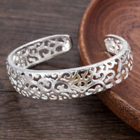 Womens Charm Jewelry 925 Sterling Silver Fashion Open Cuff Bangle Bracelet Gift