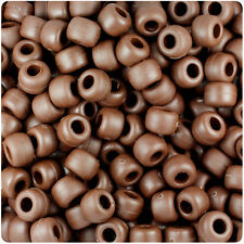 500 Chocolate Brown Matte 9x6mm Barrel Pony Beads USA Made by The Beadery