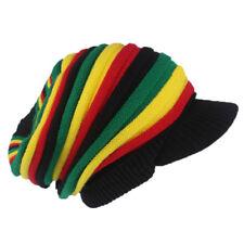 Adult Men Jamaican Rasta Hat Peaked Knitted Winter Beanie Rainbow Stripes UK