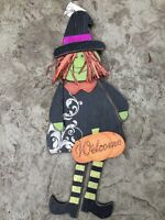 NEW WOOD Witch Wall Hanging Halloween Decoration with Glitter Pumpkin