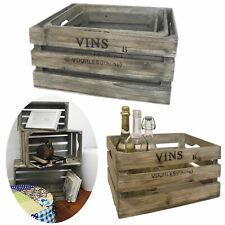 2 4er Set Weinkisten aus Holz Holzkiste Apfelkiste Obstkiste Allzweckkiste
