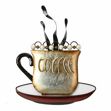 Contemporary Steaming  Coffee Cup Metal Wall Art  Brown & Pearl Beads 40 cm Tall