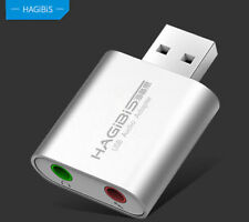 HAGiBiS USB Sound Card External Converter Adapter 3.5mm Aux Stereo Mic Aluminium