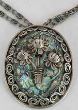 HUGE vintage sterling silver, Abalone shell necklace or pin Mexico Taxco signed