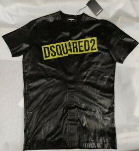 T-shirt DSQUARED2 Uomo nero cotone girocollo stampa spalmata taglio vivo tg M