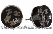 AUTHENTIC CHANEL CLASSIC BLACK BUTTON SILVER CC LOGO STUD POST EARRINGS NEW