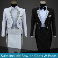 New Mens Folwer Wedding Tuxedo SUIT&PANTS Jackets Formal Tail Coats Trouse Party