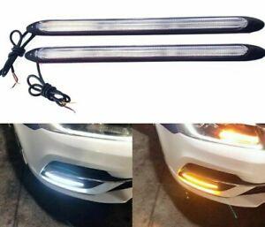 Auto LED Daytime Running Lights Flow Slide Turn Signal Lights Lamp Car Headlight
