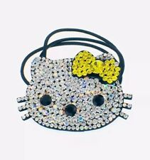 USA Hello Kitty Hair Rope Band use Swarovski Crystal Ponytail Holder Cat YELLOW