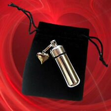 Silver ANOINTING OIL HOLDER Keychain with Silver Puffed Heart & Velvet Pouch