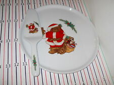 MIKASA COUNTRY BEAR CAKE PLATE WITYH SERVER