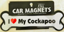 Dog Magnetic Car Decal, Bone Shaped, I Love My Cockapoo, Made in Usa ,7""