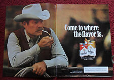 1984 Print Ad Marlboro Man Cigarettes ~ Western Cowboy Smoke Break on Fence