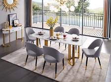Esf 131 Modern Gold Finish Marble Top Dining Room Set with Buffet, 8 pieces