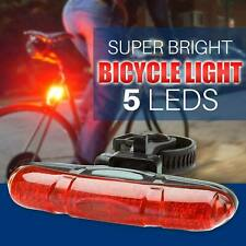 Lights Red Beam Cycle Bike 5 LED Bicycle Rear Back Tail Waterproof Lamp+Battery