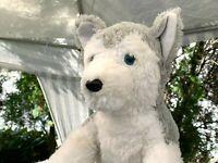 "Vintage The Bear Factory Husky Puppy Dog Blue Eyes 18"" Plush Stuffed Animal Toy"