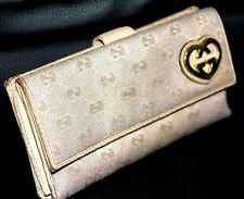 Auth Gucci GG Pink Canvas/Leather Bifold Leadies Long Wallet with Heart Logo