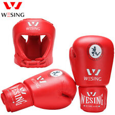 Wesing Muaythai headguard with gloves Competition Head Gear sets IFMA approved