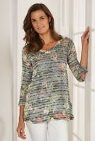 Soft Surroundings Botanique Striped Floral 3/4 Sleeve Tunic Sweater V-Neck Small