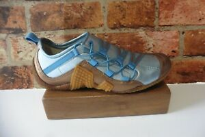MERRELL BLUE / COPPER METALLIC LEATHER SLIP ON TRAINERS UK 6.5 STICKY SOLE