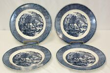 "Royal China- Royal Ironstone ""The Old Grist Mill"" Blue Set of 4 Dinner Plates"